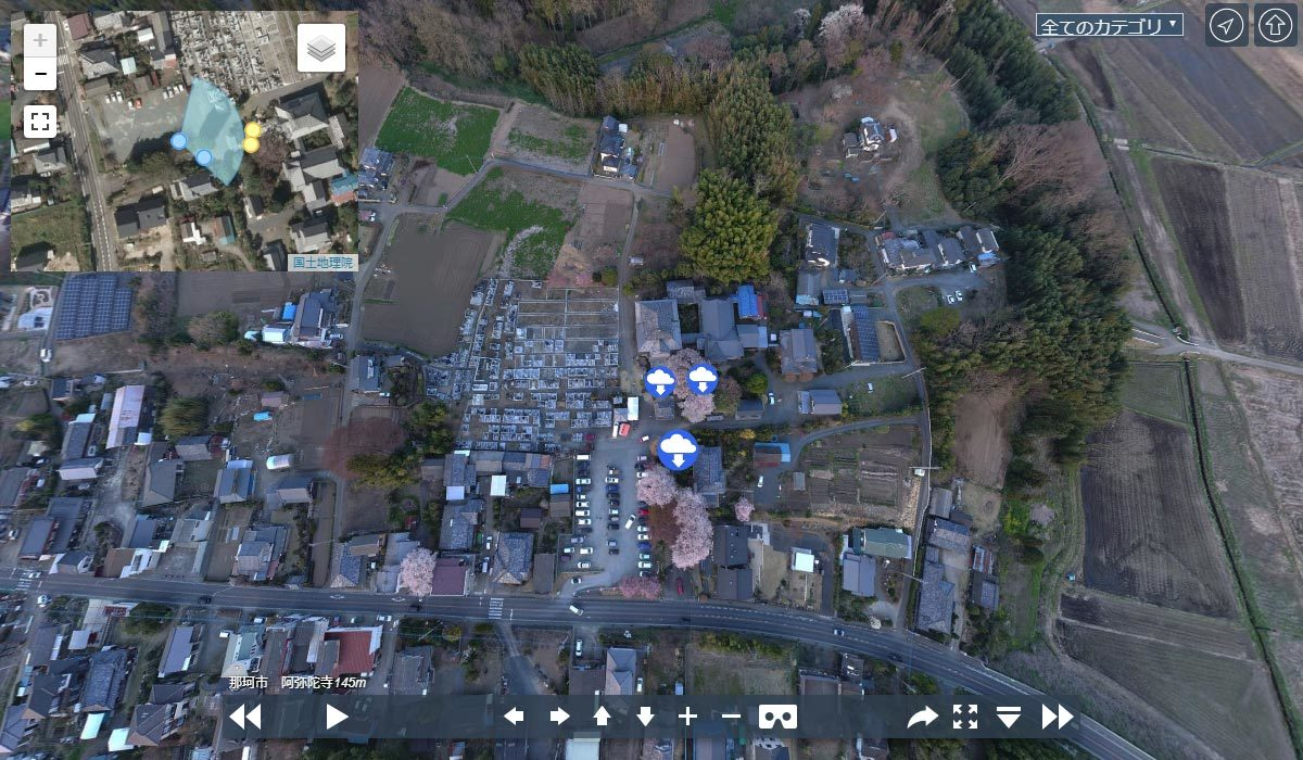 那珂市の寺おすすめスポット阿弥陀寺の観光空撮写真
