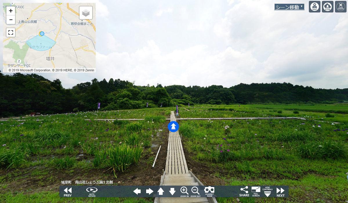 城里町おすすめ季節観光スポットの青山花しょうぶ園VRツアー
