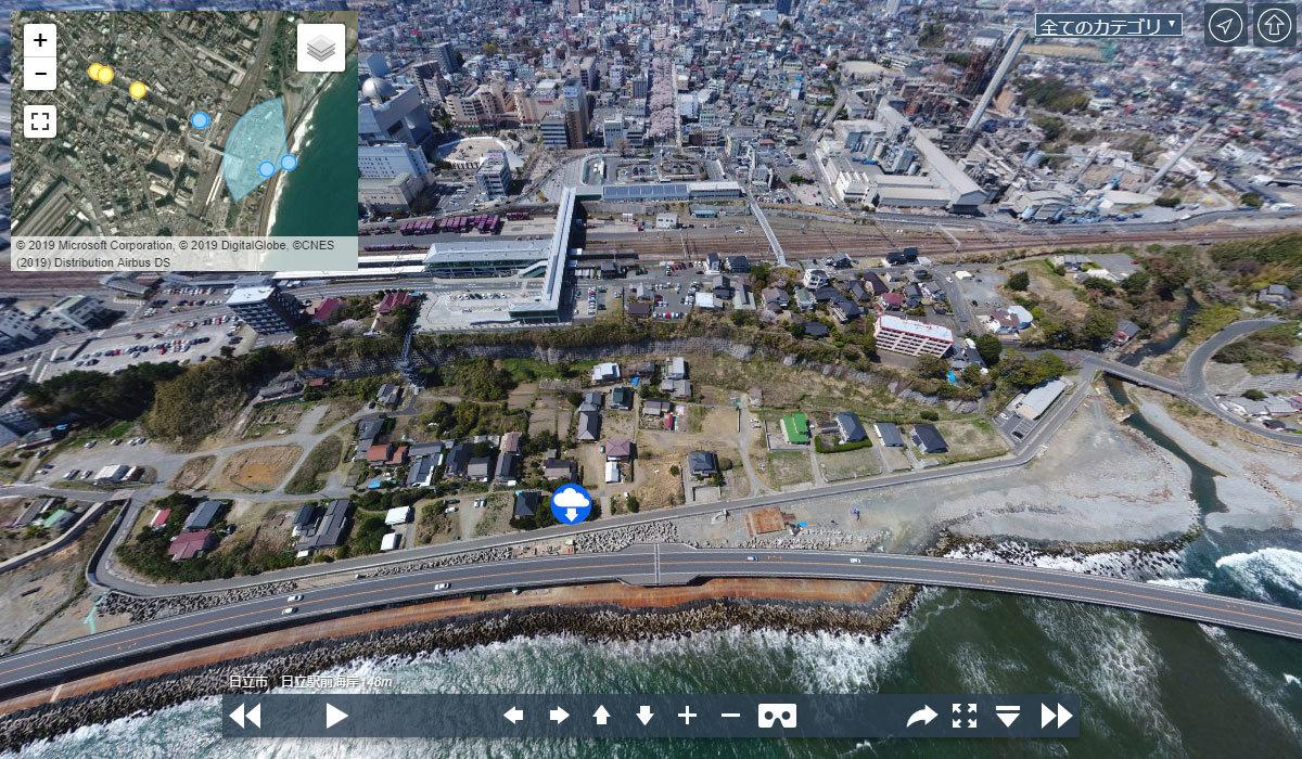 日立市おすすめ観光スポット日立駅前海岸の案内VRツアー