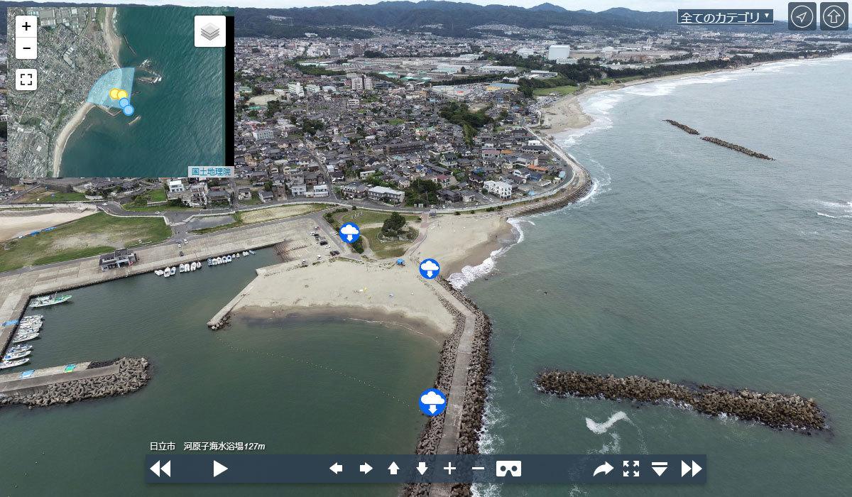 日立市おすすめ観光スポット河原子海水浴場の空撮写真