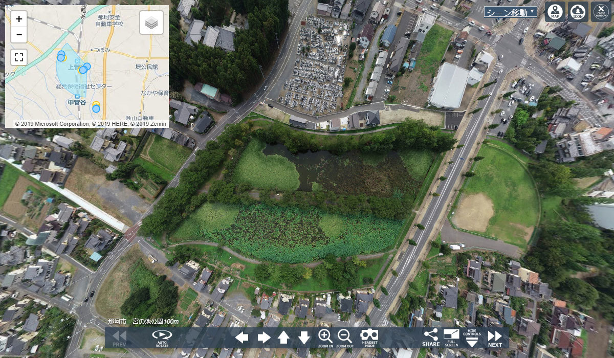 那珂市おすすめスポットの宮の池公園空撮写真