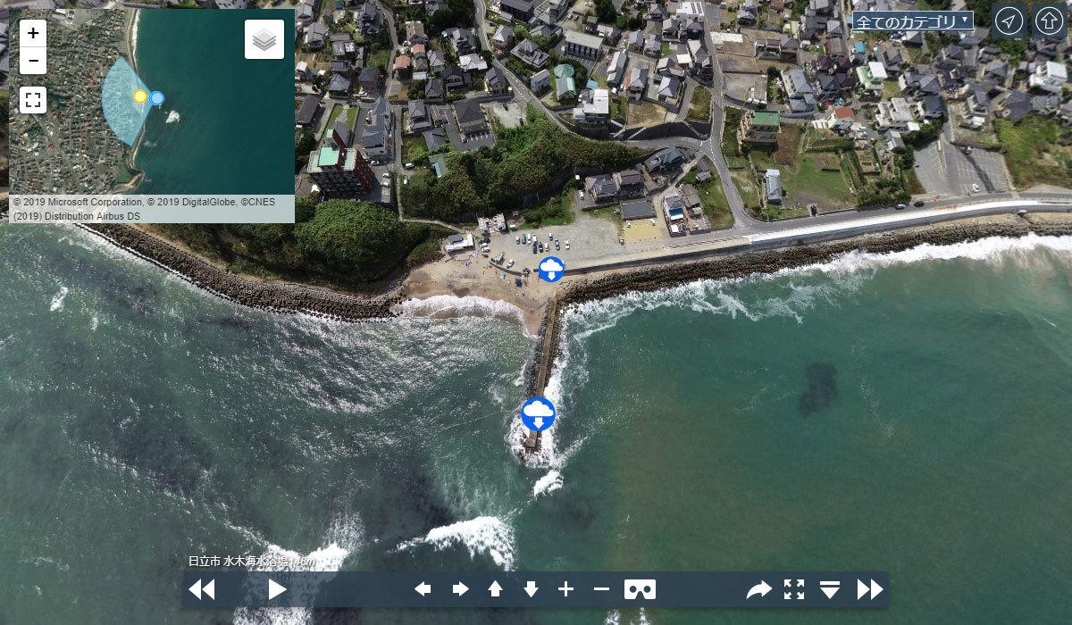 日立市の水木海水浴場の観光案内空撮VRツアー