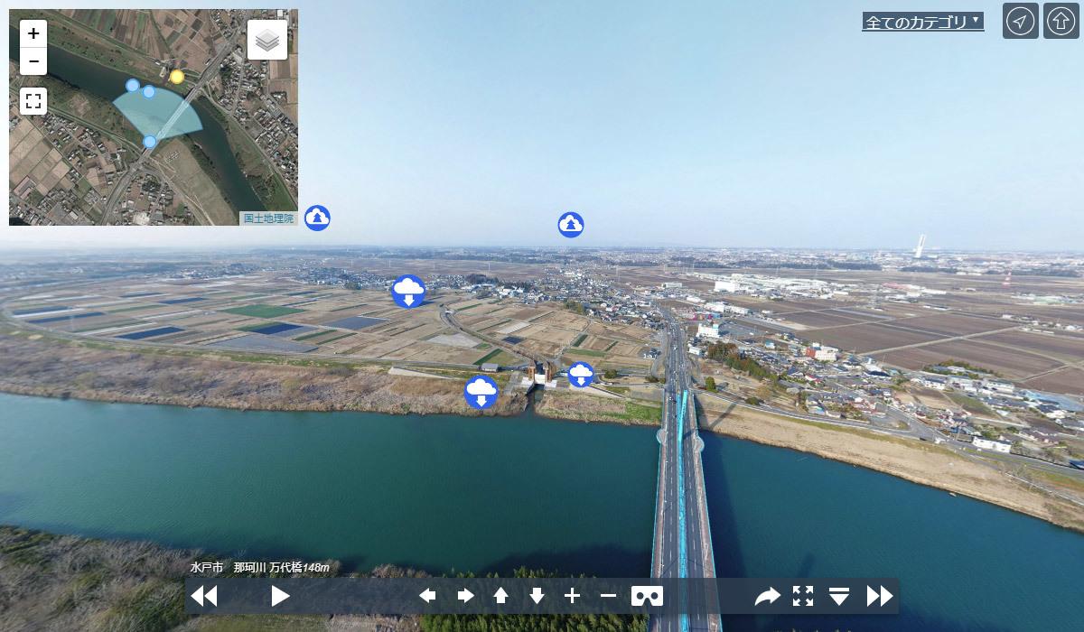 那珂川 万代橋VRツアーパノラマ写真のサムネイル