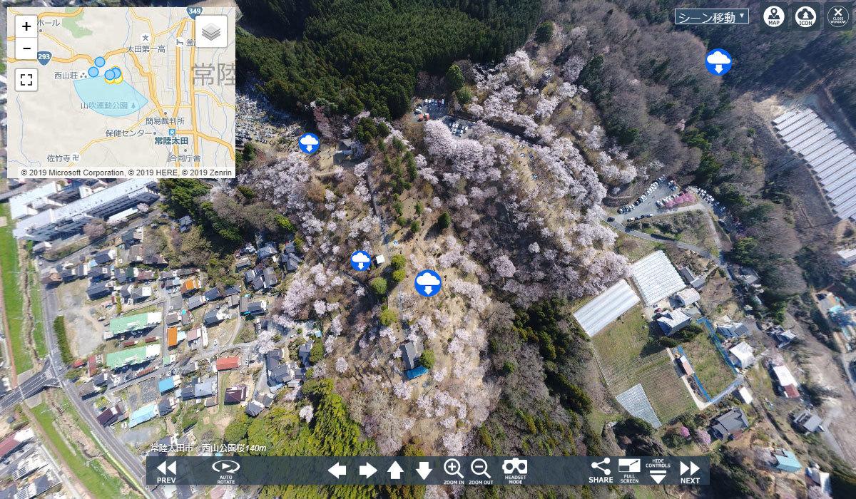 常陸太田市おすすめスポットの西山公園の桜VRツアー