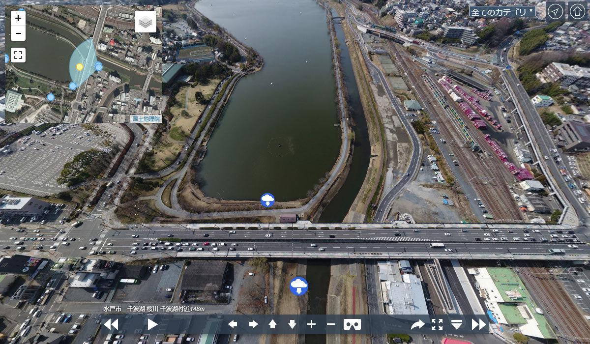 千波湖 桜川 千波湖付近VRツアーパノラマ写真のサムネイル
