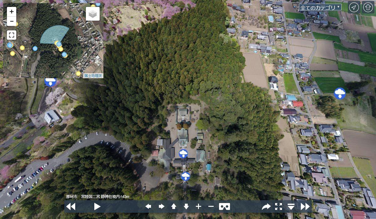那珂市の静神社観光案内空撮写真