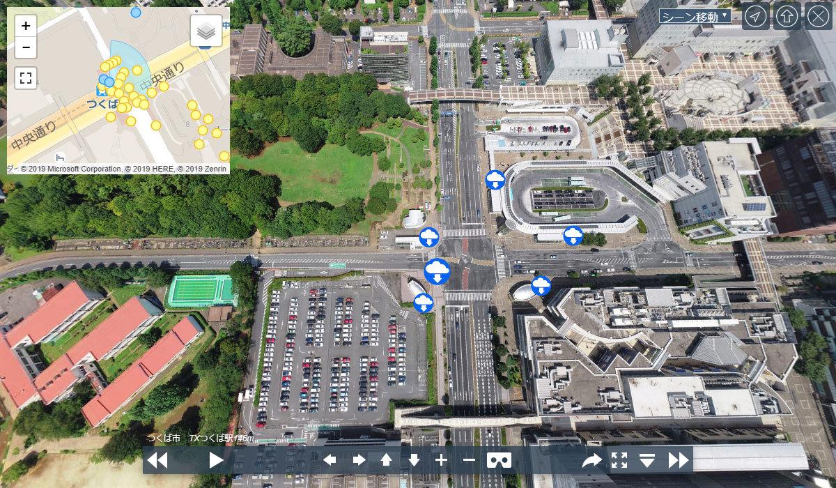 つくば市交通要所のつくば駅前交差点