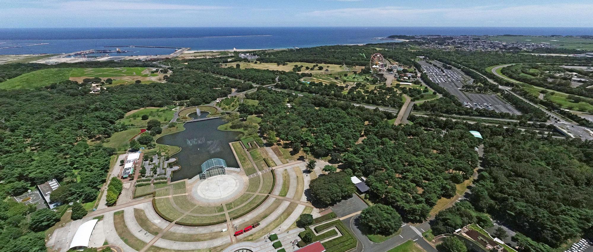国営ひたち海浜公園・阿字ヶ浦海岸の空撮写真